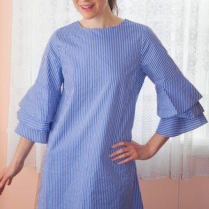 Bleuh Ciel Striped Bell Sleeve Dress